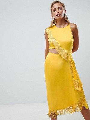 ASOS DESIGN cut out side fringe midi dress