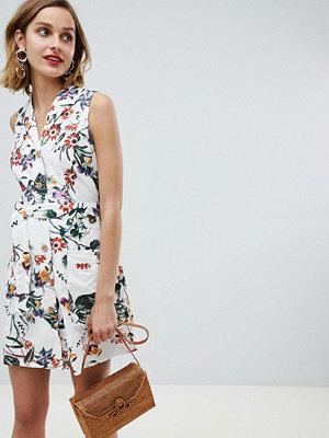 Mango floral button through sleeveless dress