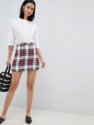 ASOS DESIGN tailored a-line mini skirt in red check - Check