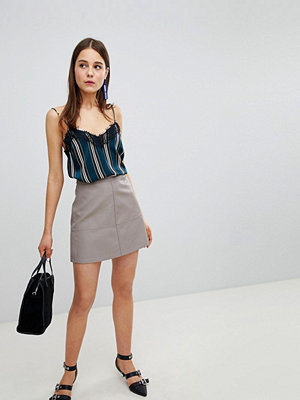 New Look Leather Look Mini Skirt - Mink