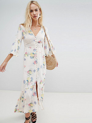 ASOS DESIGN lace insert button through maxi dress in soft floral