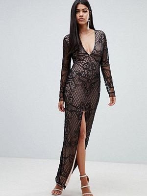 Ra-Re London long sleeve embellished maxi dress