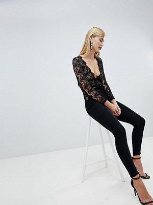 Ra-Re London long sleeve lace plunge jumpsuit