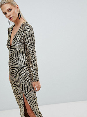 Ra-Re London long sleeve plunge sequin maxi dress - Black/gold