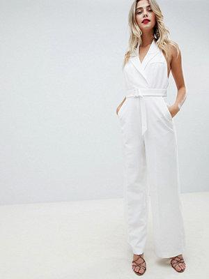 ASOS DESIGN tux jumpsuit with wide leg - Ivory