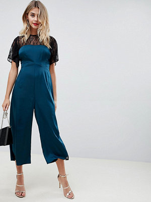 ASOS DESIGN tea jumpsuit in satin with lace detail - Teal