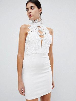 Ra-Re London high neck plunge lace mini dress