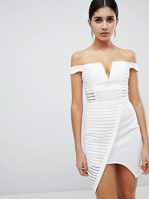 Ra-Re London textured mesh bardot dress