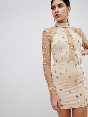 Ra-Re London mesh and sequin star mini dress