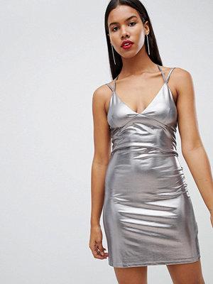 Ra-Re Strappy liquid metallic mini dress - Silver