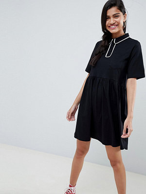 ASOS DESIGN smock polo dress with contrast tipping