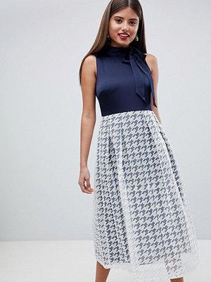 Closet London Neck Tie Grid Skirt Dress