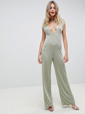 ASOS DESIGN Jumpsuit with Low Plunge Detail in Slinky Jersey - Sage
