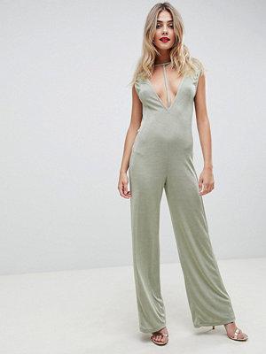 ASOS DESIGN Förförisk jumpsuit i jersey och låg plunge-modell Salviagrön