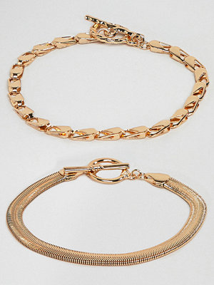 ASOS Curve armband ASOS DESIGN Curve pack of 2 bracelets with heavyweight chain and flat rope chain gold
