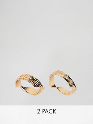 ASOS DESIGN pack of 2 rings with engraved detail