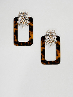 ASOS örhängen DESIGN earrings with tortoiseshell open shape and crystal design