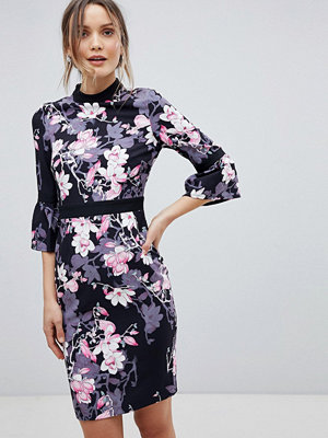 Paper Dolls floral flute sleeve dress - Black multi