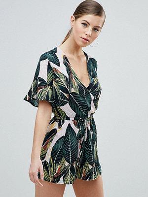 Ax Paris Wrap Front Kimono Sleeve Palm Leaf Playsuit