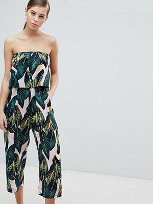 Ax Paris Frill Overlay Palm Leaf Jumpsuit