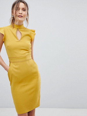 Paper Dolls cap sleeve keyhole dress - Mustard gold