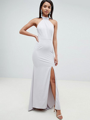 Jarlo high neck fishtail maxi dress with open back detail in grey - Soft grey