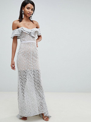 Jarlo all over lace frill bardot fishtail maxi dress in grey - Soft grey