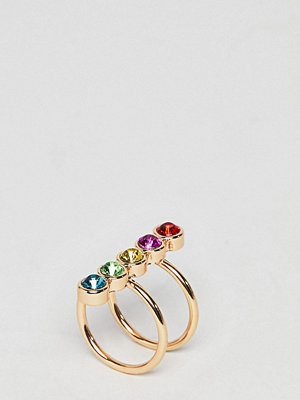 ASOS Curve ASOS DESIGN Curve Exclusive ring with multicolour jewels