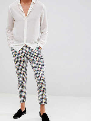 ASOS DESIGN slim crop smart trouser in dogtooth print