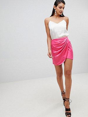 ASOS DESIGN satin wrap mini skirt - Bright magenta