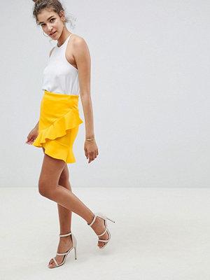 ASOS DESIGN mini skirt with frill hem in scuba - Lemon