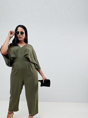 ASOS Curve ASOS DESIGN Curve Jumpsuit with Kimono Sleeve and Peg Leg - Olive