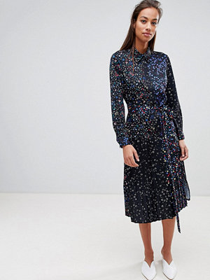 French Connection Midi Shirt Dress in Obine Floral - Black