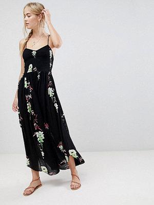 Free People Beau printed midi dress - Black combo