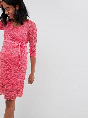 Mamalicious lace pencil dress - Rapture rose