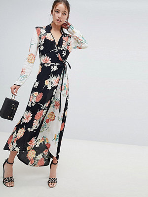 Miss Selfridge maxi dress with wrap front in mixed floral print
