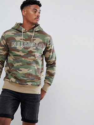 Street & luvtröjor - Pull&Bear hoodie in camo with logo - Camo