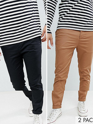 ASOS DESIGN 2 pack skinny chinos in camel & black save - Rubber/black