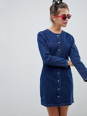 ASOS DESIGN denim collarless dress in mid wash