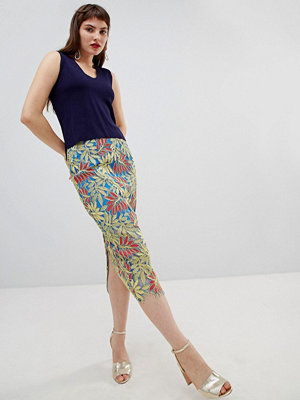 River Island lace pencil skirt in tropical print