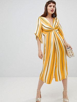 River Island smock midi dress with knot detail in stripe - Yellow bright stripe