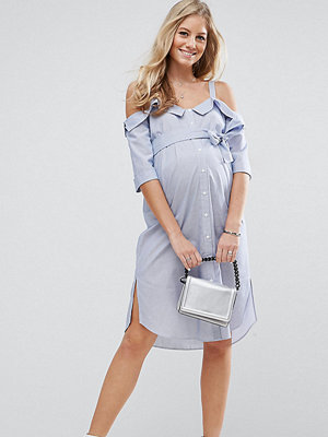 ASOS Maternity Cold Shoulder Shirt midi dress with Foldover Detail - Chambray