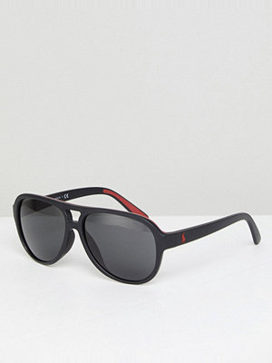 Polo Ralph Lauren aviator sunglasses with red contrast