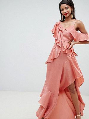 ASOS DESIGN floaty satin ruffle maxi dress - Dusty rose