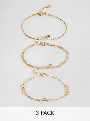 ASOS armband DESIGN bracelet pack of 3 with cut link and twist chain detail