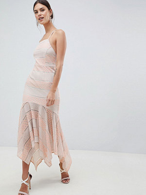 C by Cubic Strappy Lace Fishtail Midi Dress - Peach melba