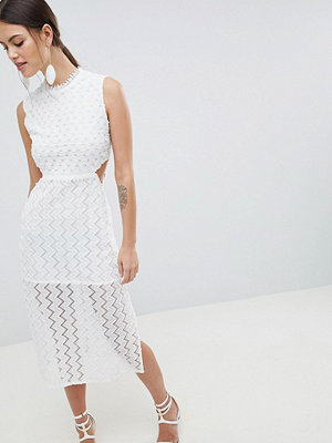 C by Cubic Sheer Lace Midi Dress