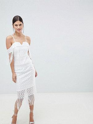 C by Cubic Strap Bandeau Sheer Midi Dress