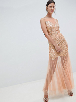 C by Cubic Sequin Fish Tail Maxi Dress
