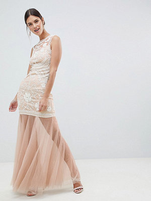 C by Cubic Sequin Maxi Dress With Mesh Fishtail